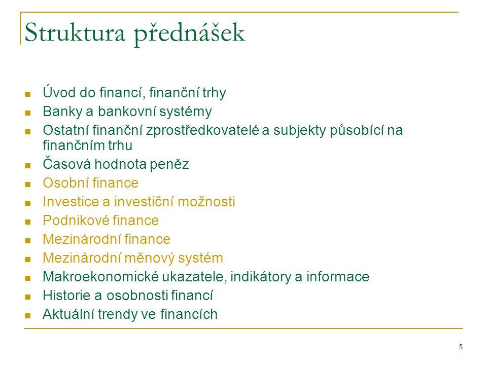 Struktura přednášek Úvod do financí, finanční trhy