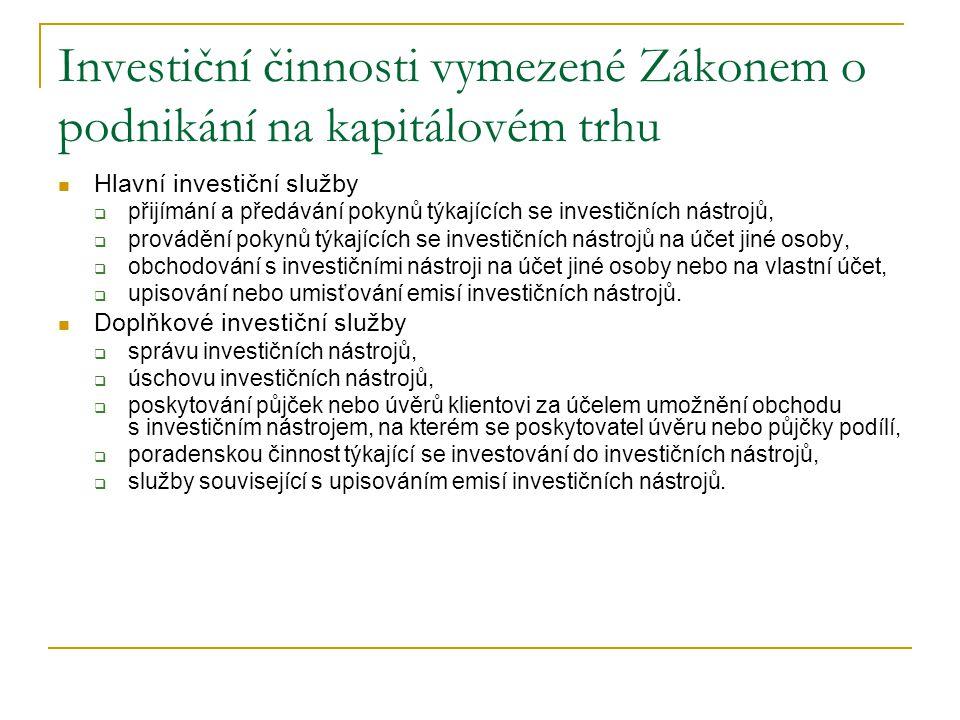 Investiční činnosti vymezené Zákonem o podnikání na kapitálovém trhu