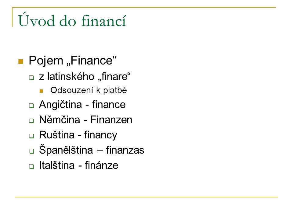 """Úvod do financí Pojem """"Finance z latinského """"finare"""