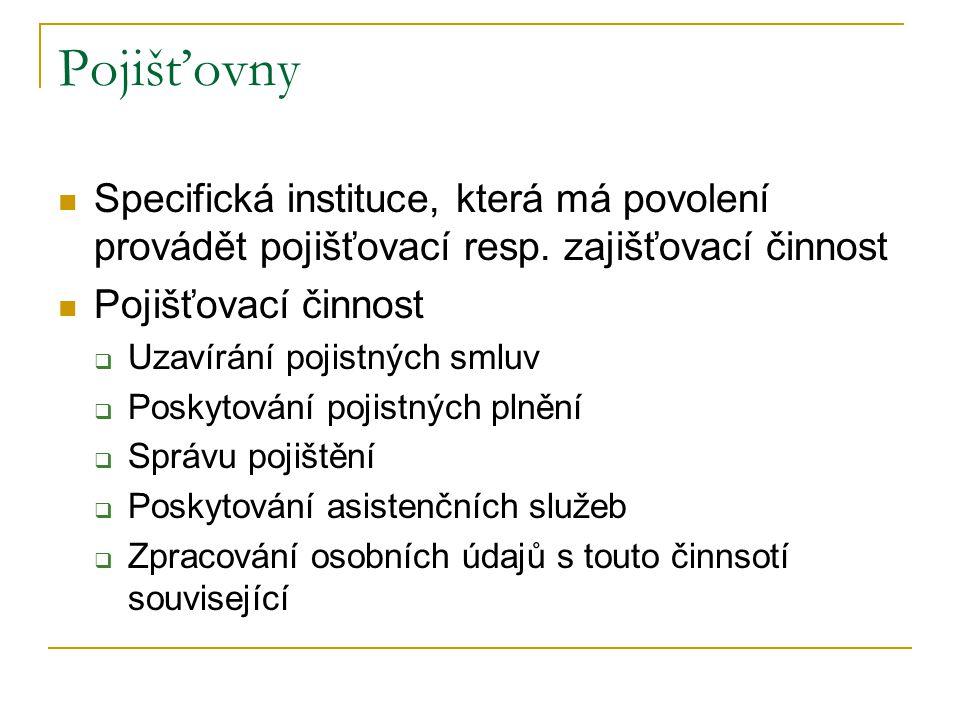 Pojišťovny Specifická instituce, která má povolení provádět pojišťovací resp. zajišťovací činnost. Pojišťovací činnost.