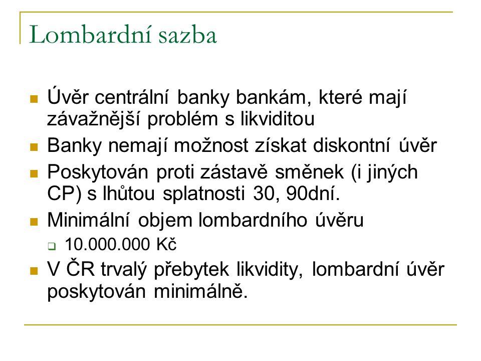 Lombardní sazba Úvěr centrální banky bankám, které mají závažnější problém s likviditou. Banky nemají možnost získat diskontní úvěr.