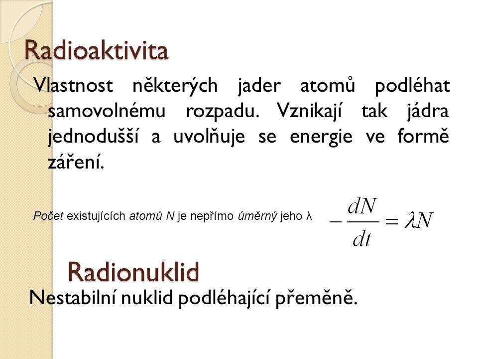 Radioaktivita Radionuklid