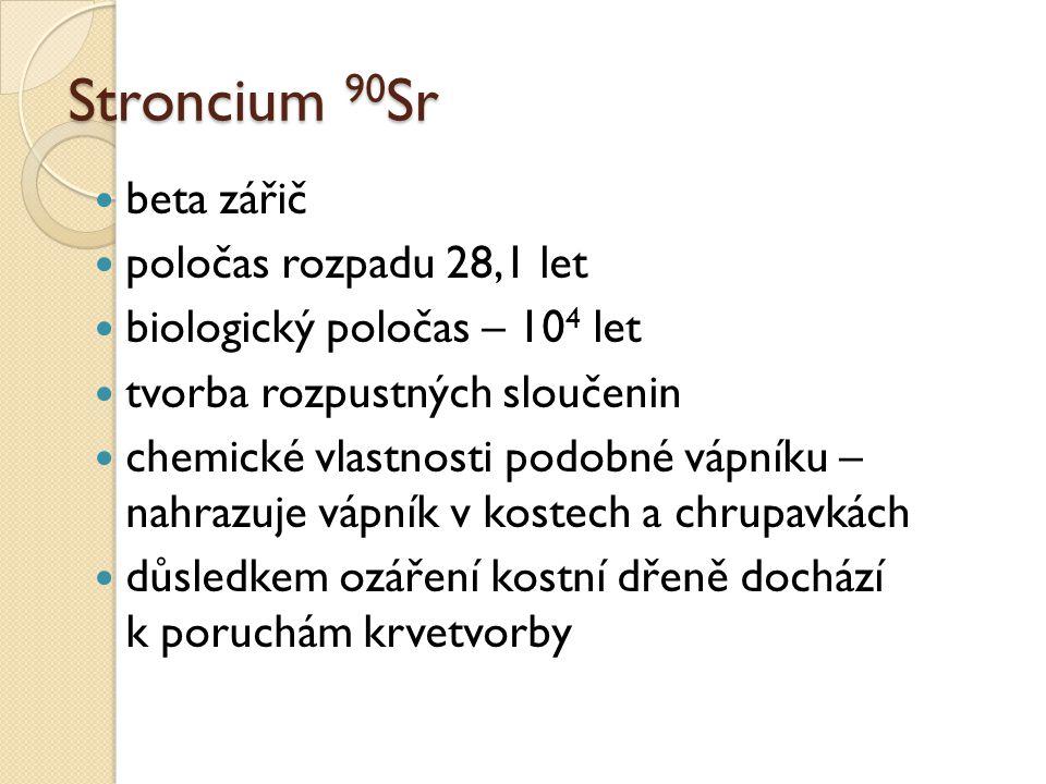 Stroncium 90Sr beta zářič poločas rozpadu 28,1 let