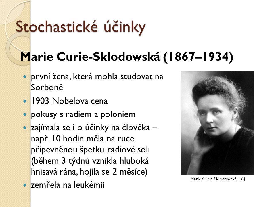 Stochastické účinky Marie Curie-Sklodowská (1867–1934)
