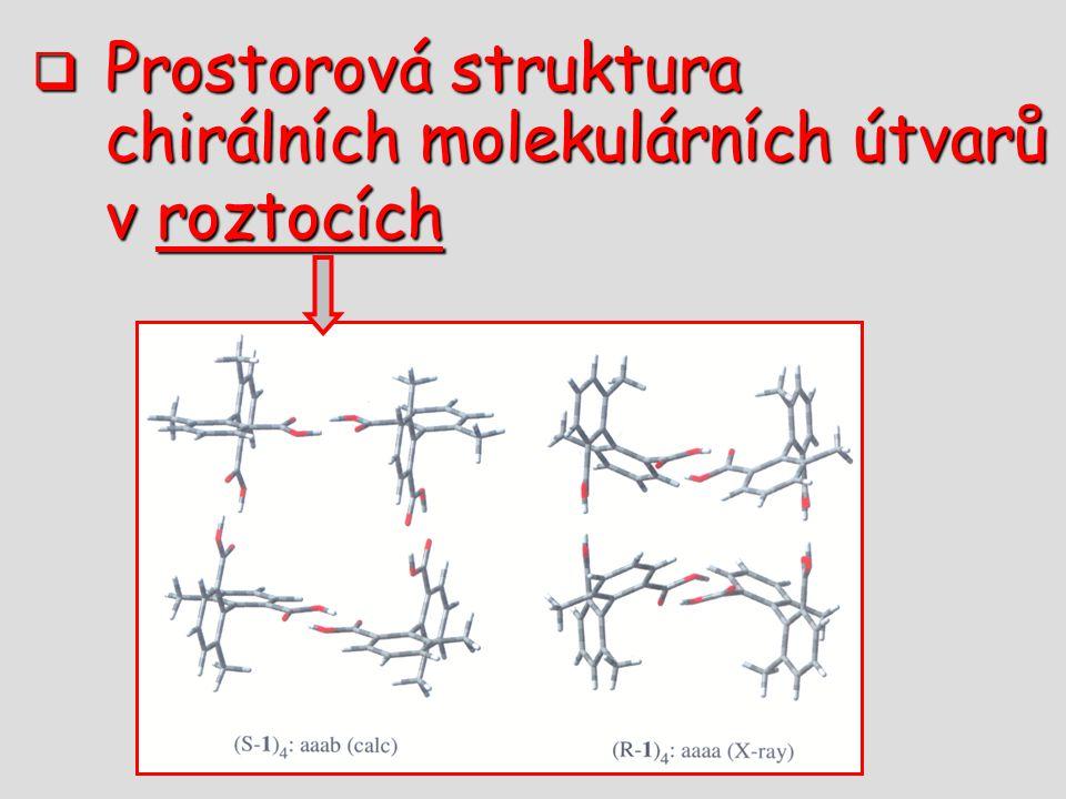 Prostorová struktura chirálních molekulárních útvarů v roztocích