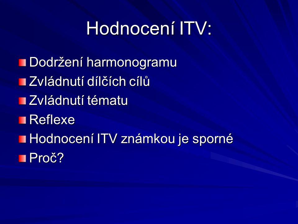 Hodnocení ITV: Dodržení harmonogramu Zvládnutí dílčích cílů