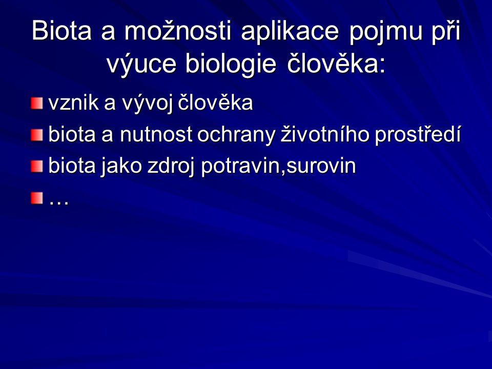 Biota a možnosti aplikace pojmu při výuce biologie člověka: