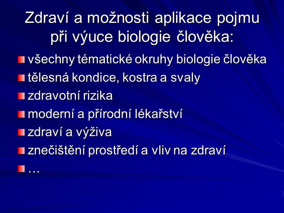 Zdraví a možnosti aplikace pojmu při výuce biologie člověka: