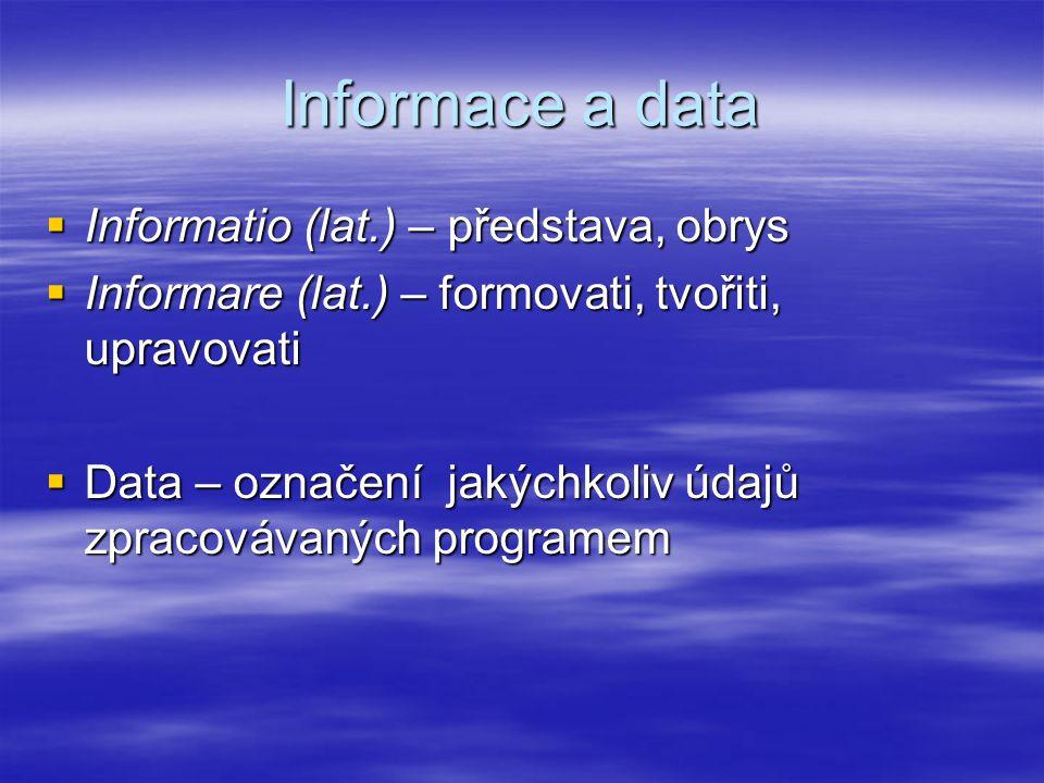 Informace a data Informatio (lat.) – představa, obrys