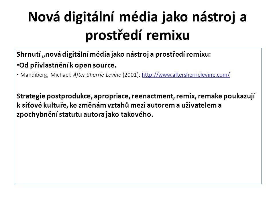 Nová digitální média jako nástroj a prostředí remixu