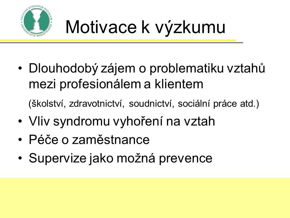 Motivace k výzkumu Dlouhodobý zájem o problematiku vztahů mezi profesionálem a klientem. (školství, zdravotnictví, soudnictví, sociální práce atd.)