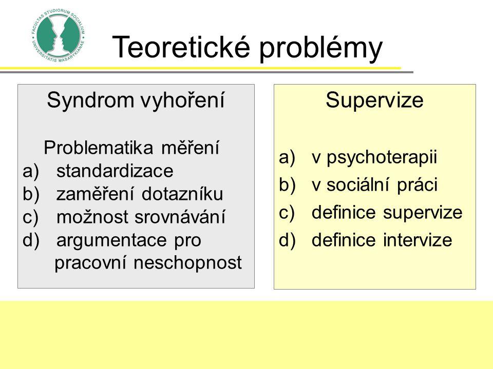 Teoretické problémy Syndrom vyhoření Supervize Problematika měření