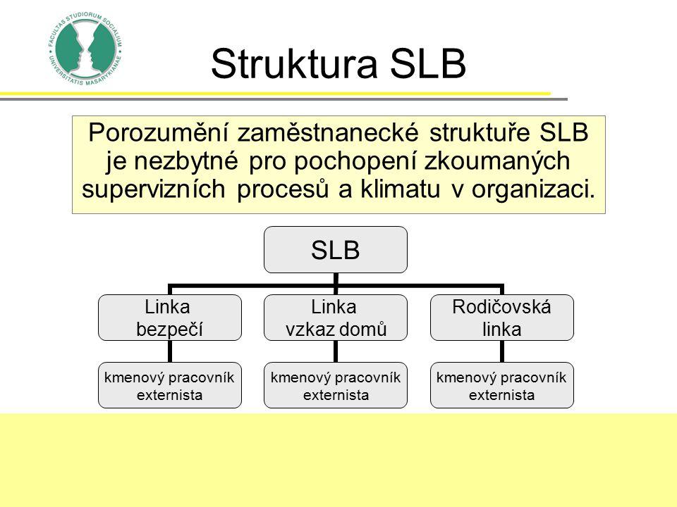 Struktura SLB Porozumění zaměstnanecké struktuře SLB je nezbytné pro pochopení zkoumaných supervizních procesů a klimatu v organizaci.