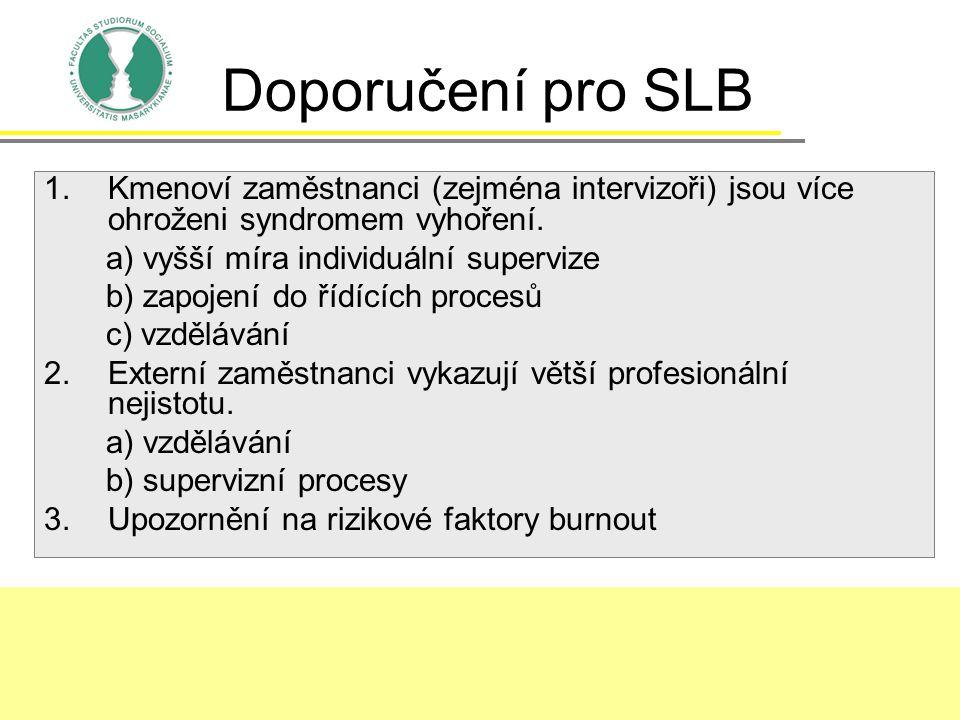 Doporučení pro SLB Kmenoví zaměstnanci (zejména intervizoři) jsou více ohroženi syndromem vyhoření.