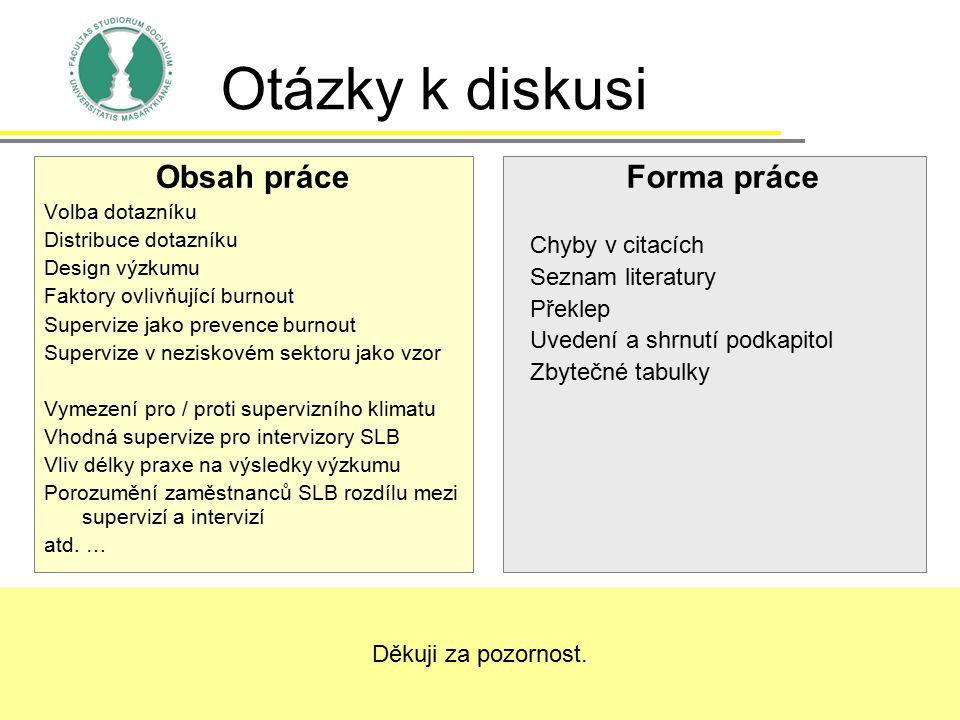 Otázky k diskusi Obsah práce Forma práce Chyby v citacích