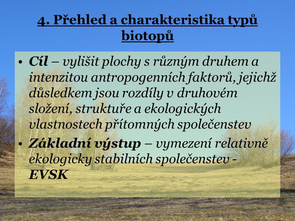 4. Přehled a charakteristika typů biotopů