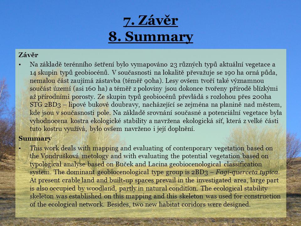 7. Závěr 8. Summary Závěr.