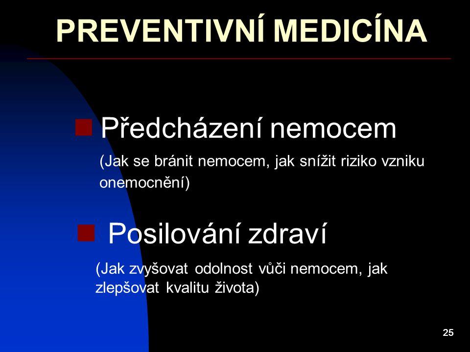 PREVENTIVNÍ MEDICÍNA Předcházení nemocem Posilování zdraví