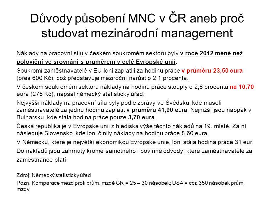 Důvody působení MNC v ČR aneb proč studovat mezinárodní management