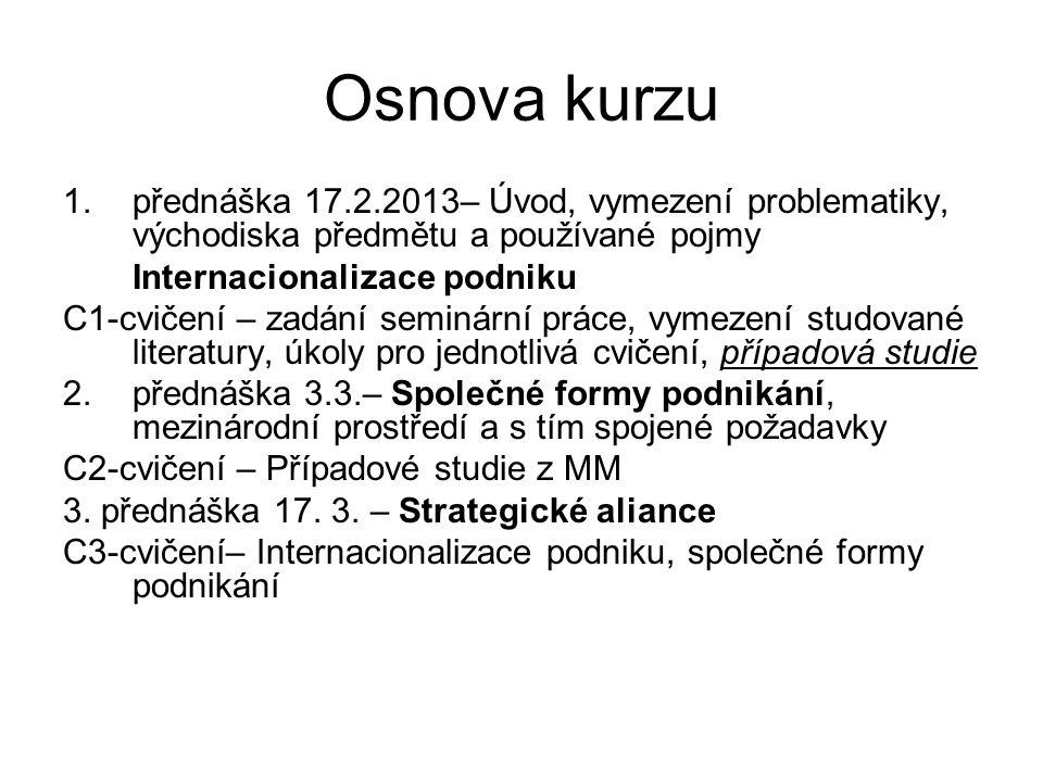 Osnova kurzu přednáška 17.2.2013– Úvod, vymezení problematiky, východiska předmětu a používané pojmy.