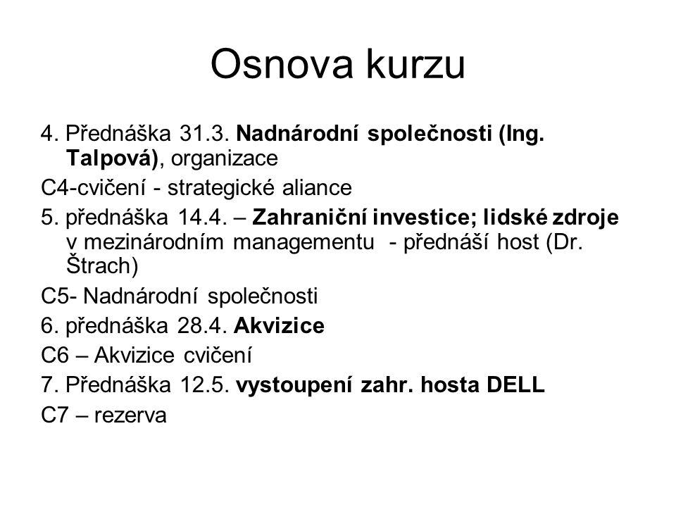 Osnova kurzu 4. Přednáška 31.3. Nadnárodní společnosti (Ing. Talpová), organizace. C4-cvičení - strategické aliance.