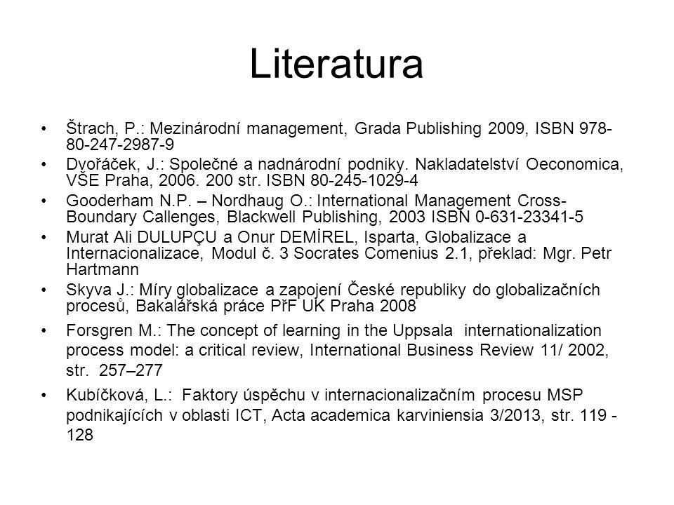 Literatura Štrach, P.: Mezinárodní management, Grada Publishing 2009, ISBN 978-80-247-2987-9.