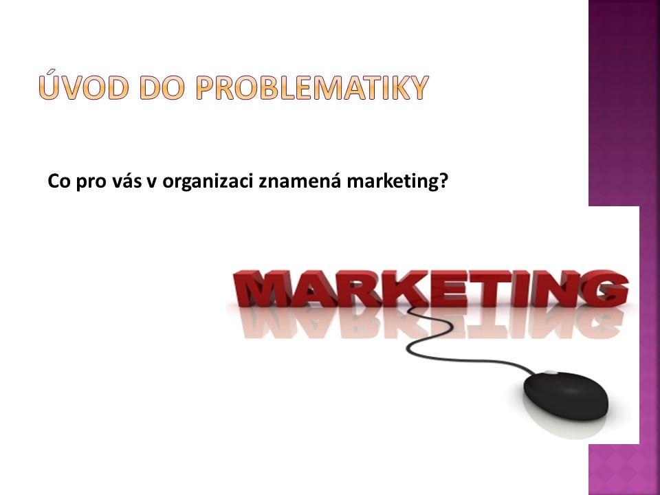 Úvod do problematiky Co pro vás v organizaci znamená marketing