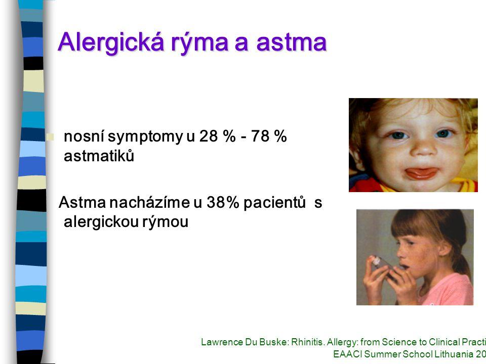 Alergická rýma a astma nosní symptomy u 28 % - 78 % astmatiků