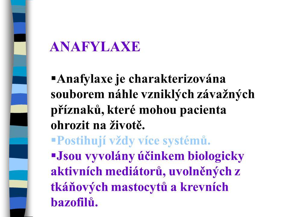 ANAFYLAXE Anafylaxe je charakterizována souborem náhle vzniklých závažných příznaků, které mohou pacienta ohrozit na životě.
