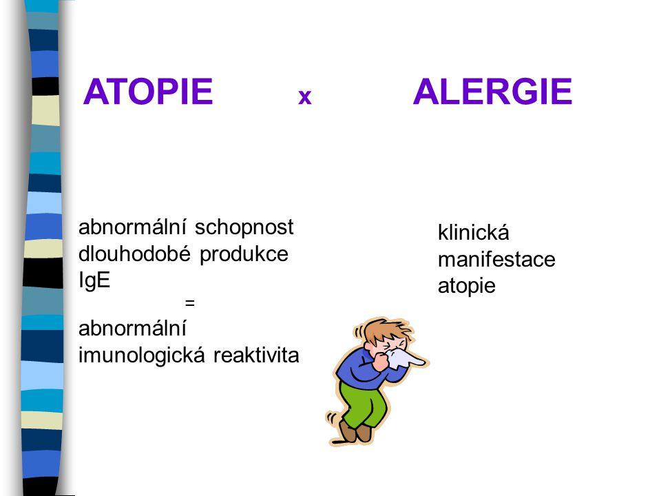 ATOPIE x ALERGIE abnormální schopnost dlouhodobé produkce IgE klinická