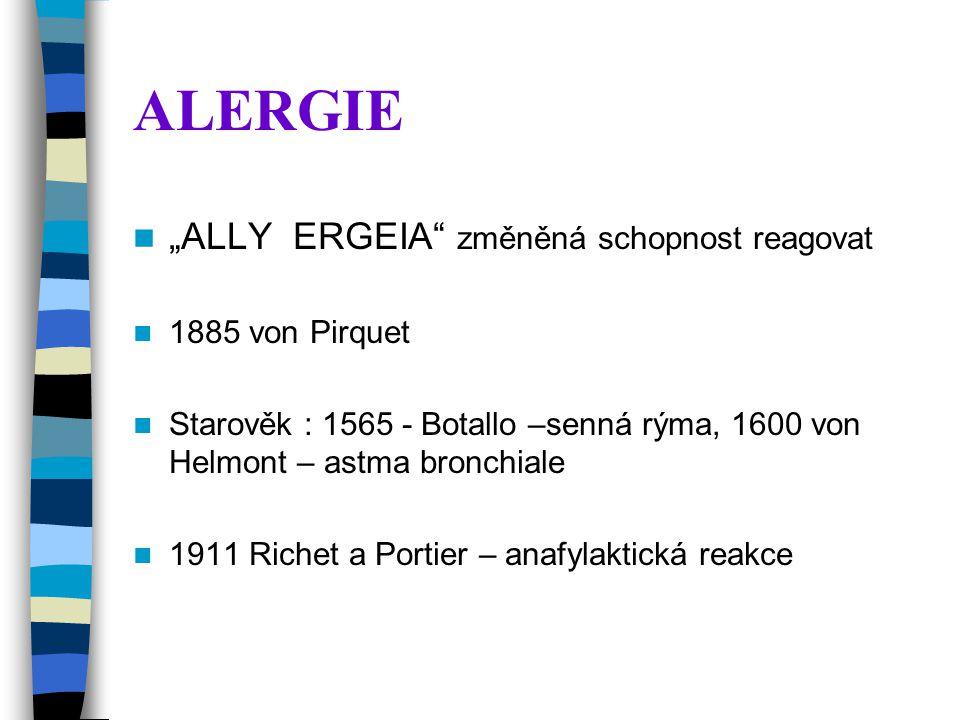 """ALERGIE """"ALLY ERGEIA změněná schopnost reagovat 1885 von Pirquet"""
