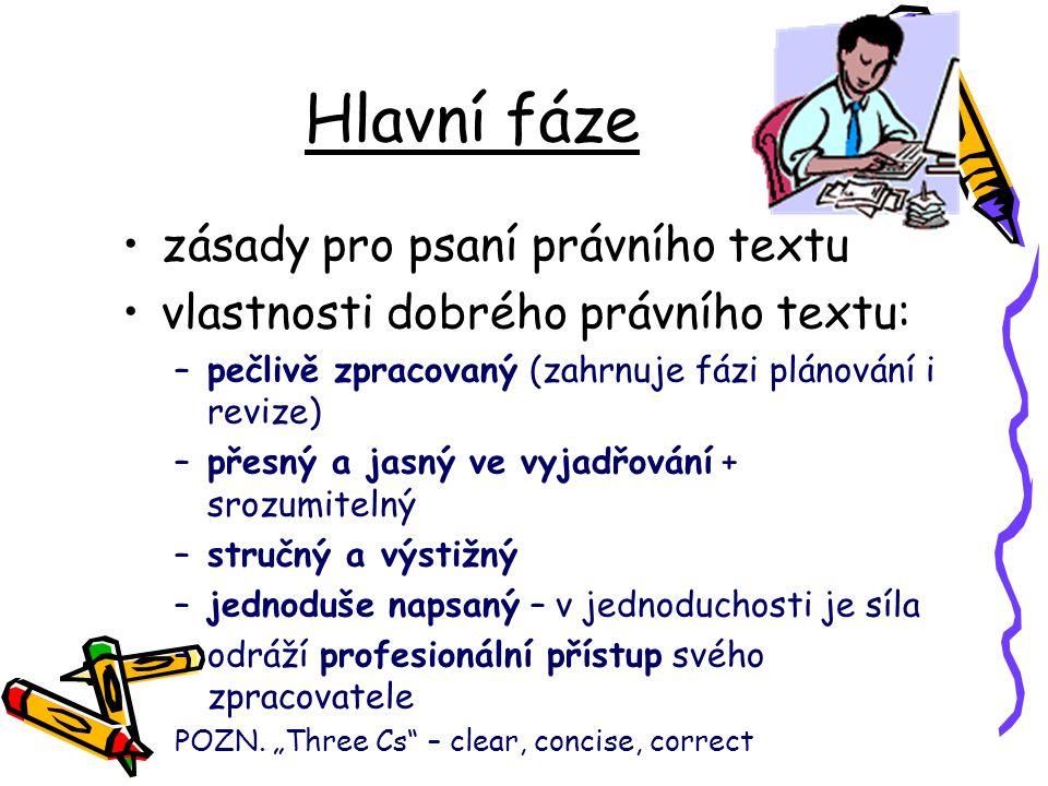 Hlavní fáze zásady pro psaní právního textu