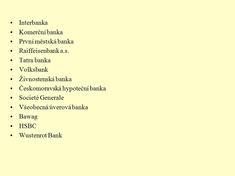 Interbanka Komerční banka. První městská banka. Raiffeisenbank a.s. Tatra banka. Volksbank. Živnostenská banka.