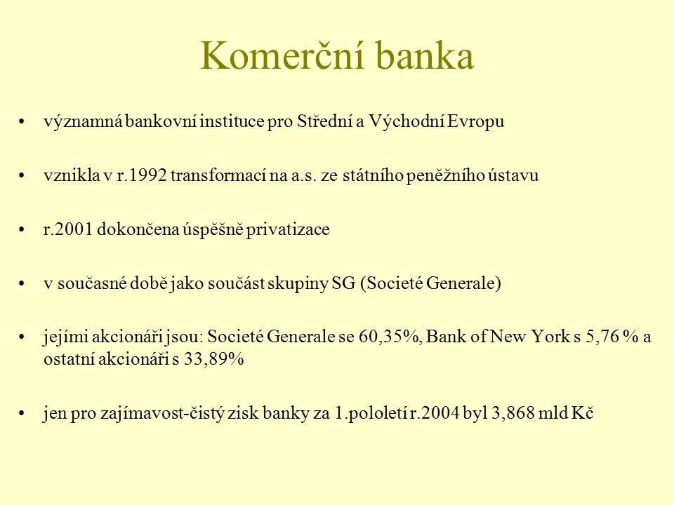 Komerční banka významná bankovní instituce pro Střední a Východní Evropu. vznikla v r.1992 transformací na a.s. ze státního peněžního ústavu.