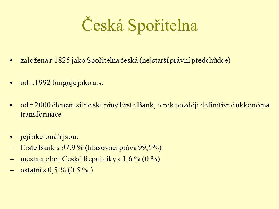 Česká Spořitelna založena r.1825 jako Spořitelna česká (nejstarší právní předchůdce) od r.1992 funguje jako a.s.