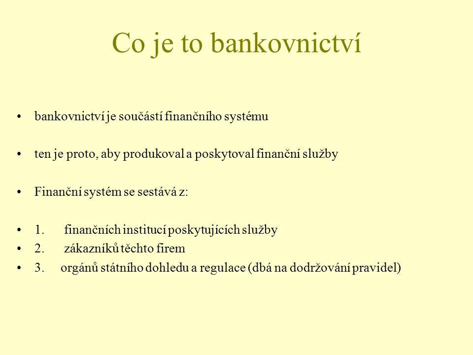 Co je to bankovnictví bankovnictví je součástí finančního systému