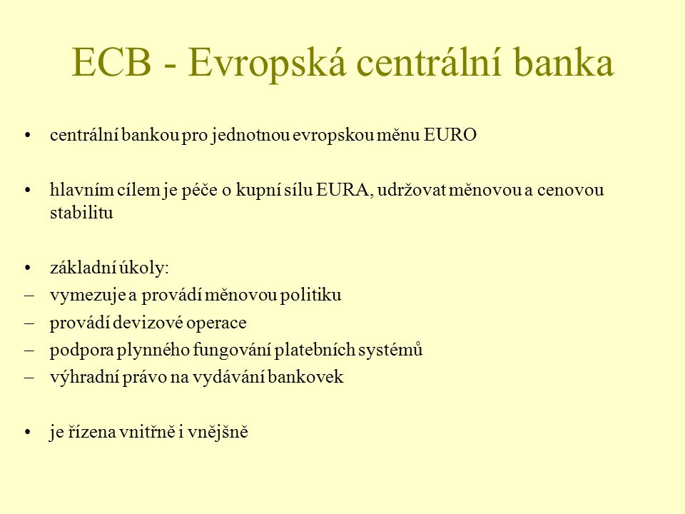 ECB - Evropská centrální banka