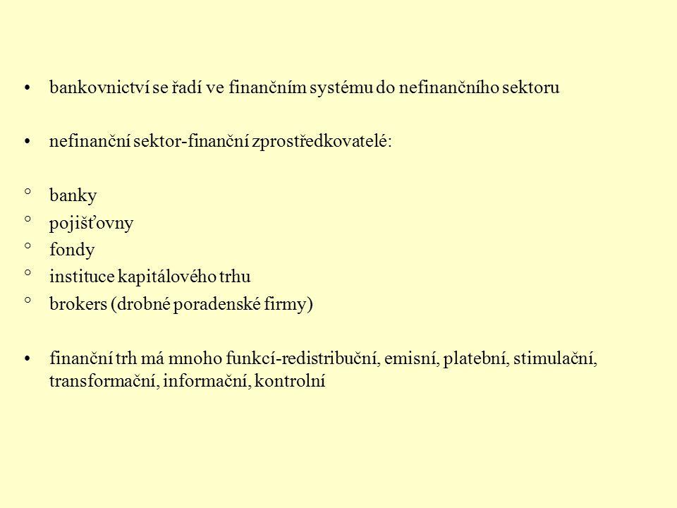 bankovnictví se řadí ve finančním systému do nefinančního sektoru
