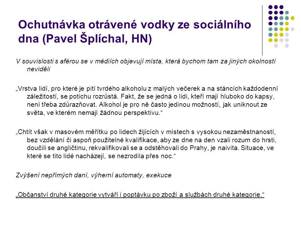 Ochutnávka otrávené vodky ze sociálního dna (Pavel Šplíchal, HN)