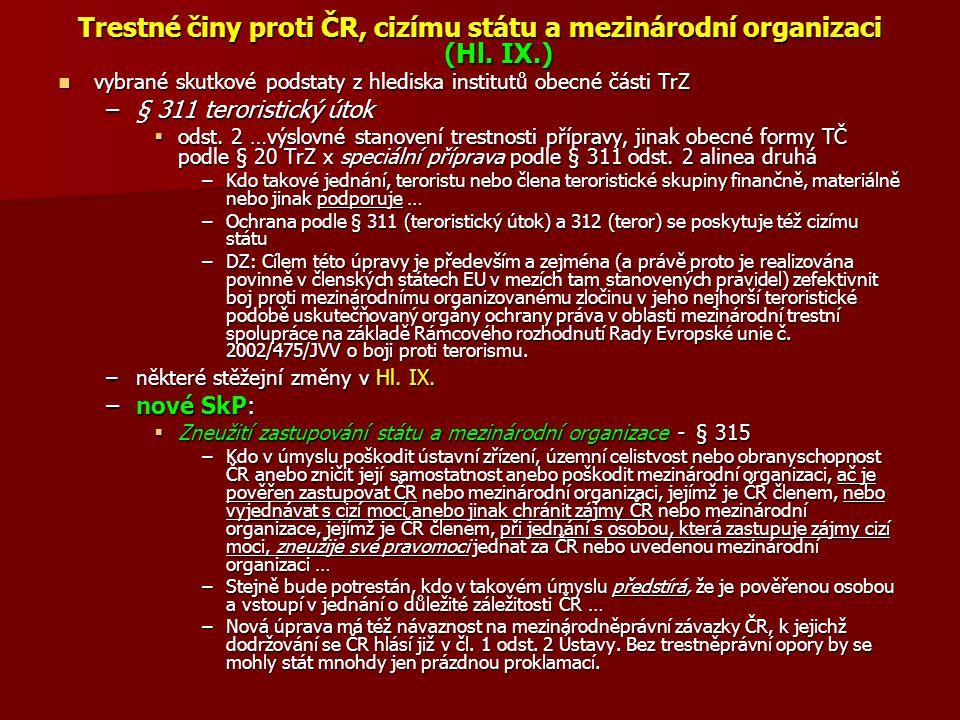 Trestné činy proti ČR, cizímu státu a mezinárodní organizaci (Hl. IX.)