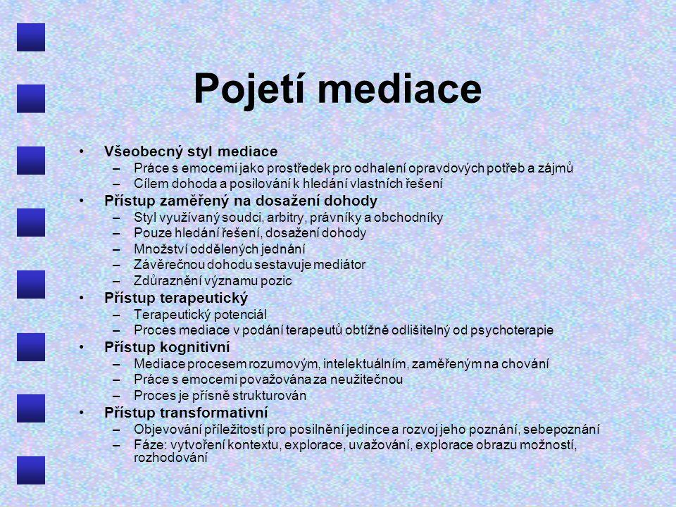 Pojetí mediace Všeobecný styl mediace
