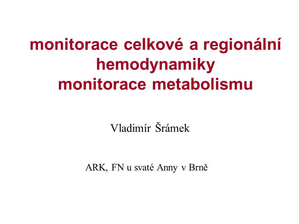 monitorace celkové a regionální hemodynamiky monitorace metabolismu
