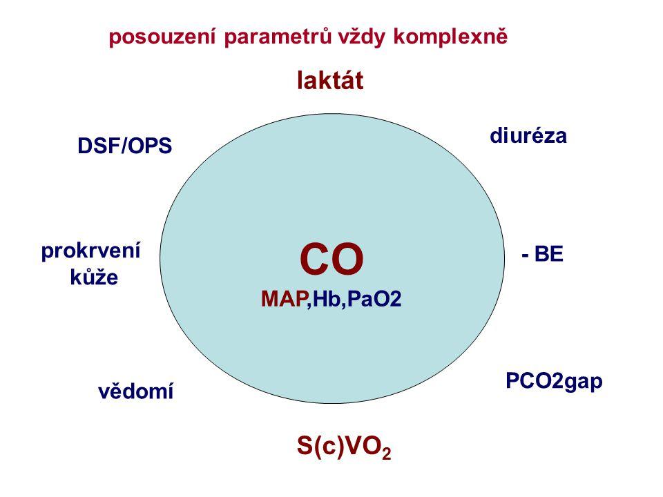 CO laktát S(c)VO2 posouzení parametrů vždy komplexně diuréza DSF/OPS