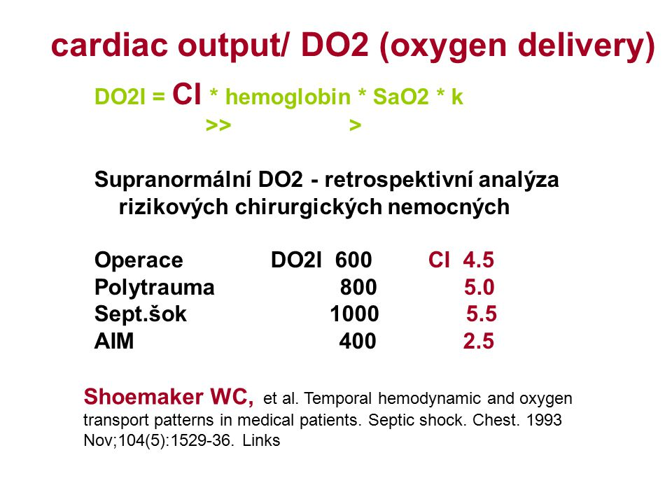 cardiac output/ DO2 (oxygen delivery)