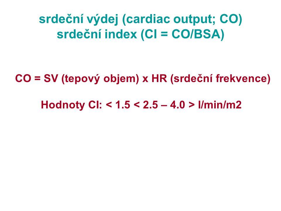 srdeční výdej (cardiac output; CO) srdeční index (CI = CO/BSA)