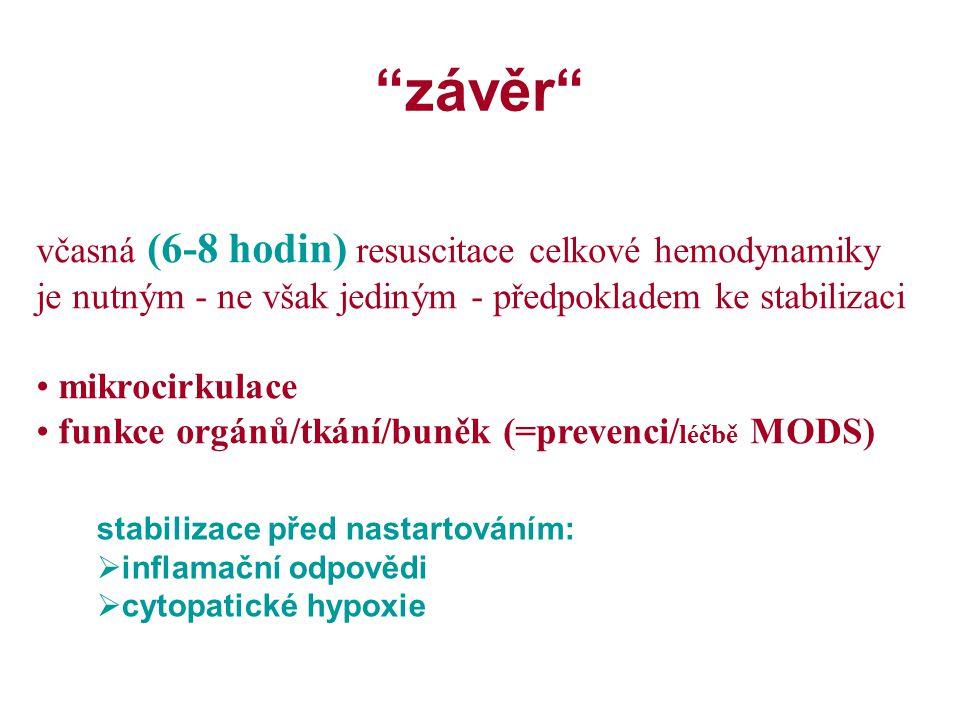 závěr včasná (6-8 hodin) resuscitace celkové hemodynamiky