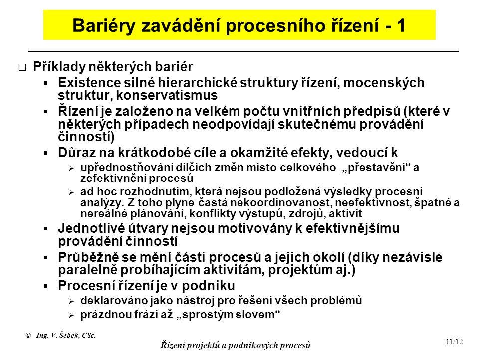 Bariéry zavádění procesního řízení - 1