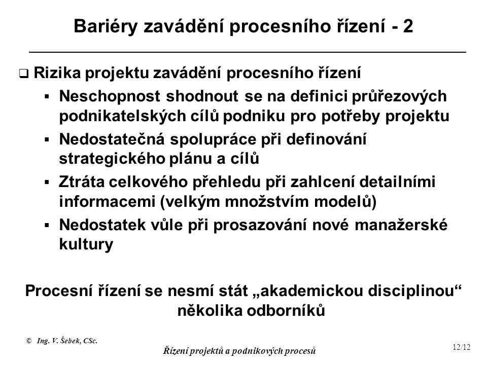 Bariéry zavádění procesního řízení - 2
