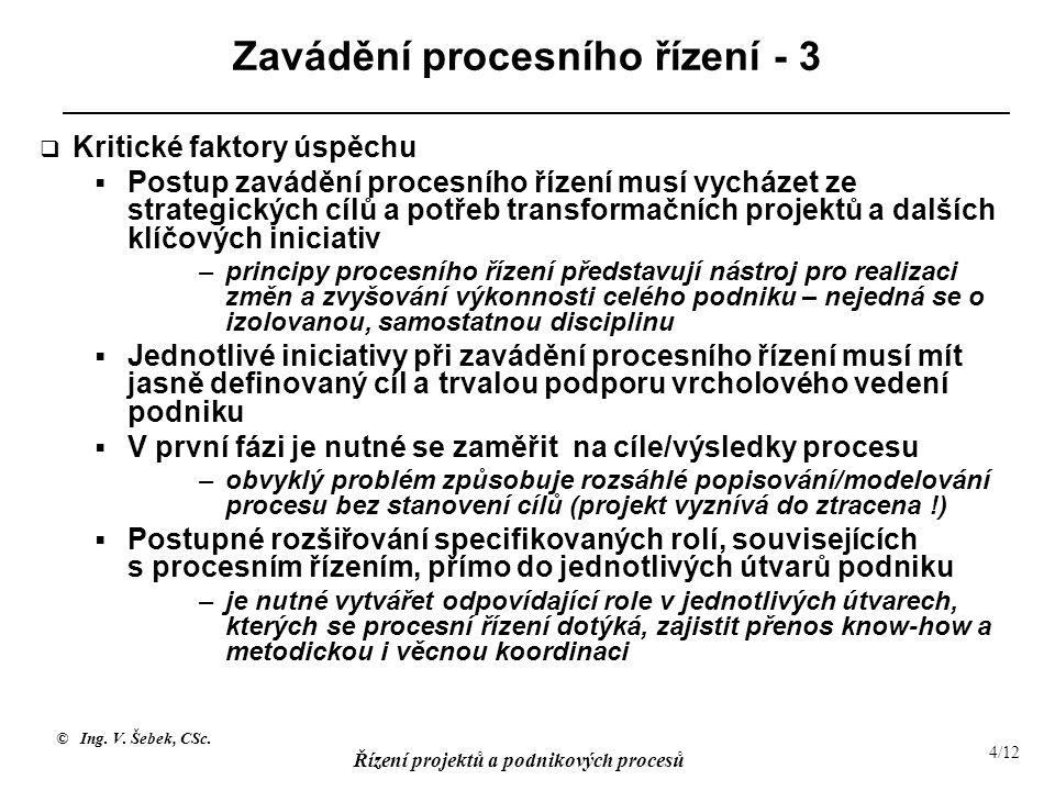 Zavádění procesního řízení - 3