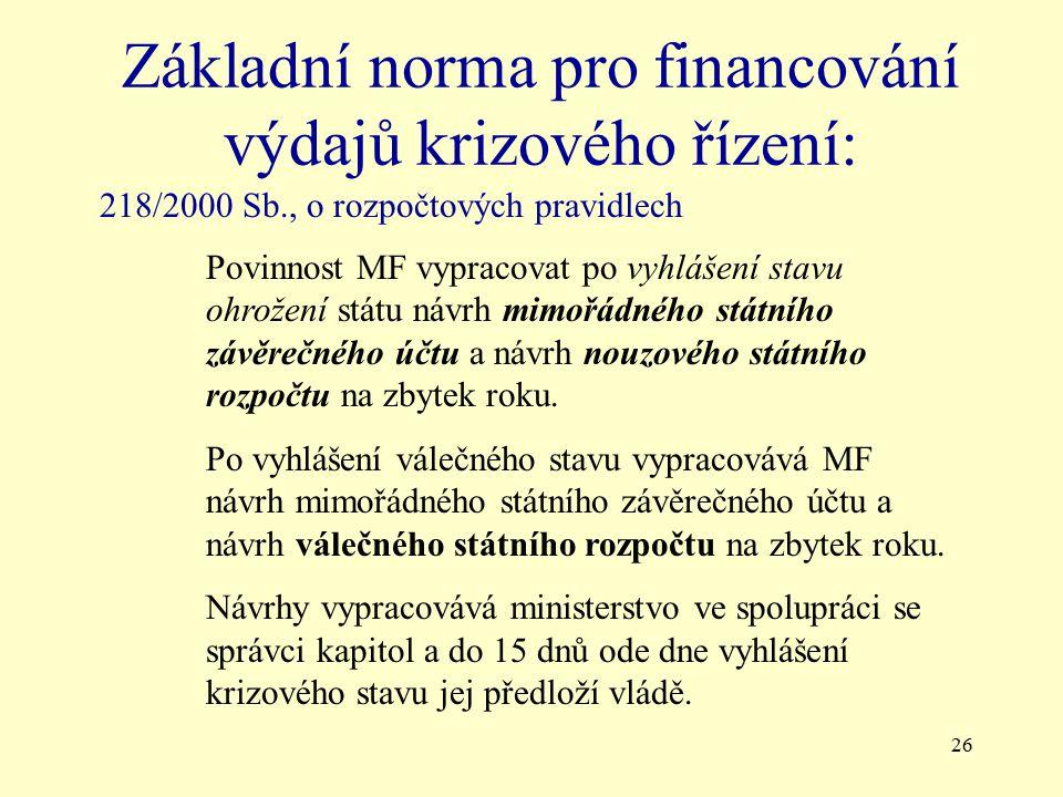 Základní norma pro financování výdajů krizového řízení: